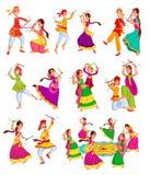 Pares Dandiya de ejecución stock de ilustración