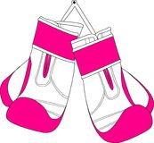 Pares das luvas de encaixotamento cor-de-rosa brancas Foto de Stock Royalty Free