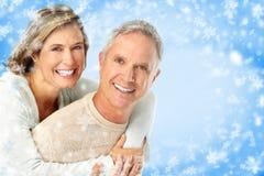 Pares das pessoas idosas do inverno foto de stock royalty free