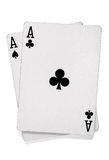 Pares de ás com cartões do póquer Fotos de Stock
