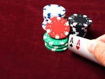 Pares de áss em um jogo de pôquer Foto de Stock