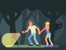 Pares de adolescentes nas madeiras em Dia das Bruxas Monstro do fantasma do horror Fotografia de Stock