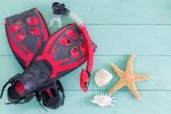 Pares de aletas vermelhas e pretas com conchas do mar fotos de stock