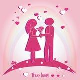 Pares de amantes con los corazones Ejemplo del vector en fondo rosado Silueta Foto de archivo libre de regalías
