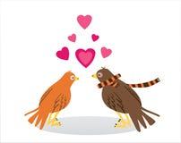 Pares de amantes de pájaros El día de tarjeta del día de San Valentín del concepto Ilustración del vector Fotos de archivo