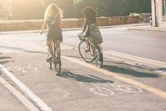 Pares de amigos con las bicicletas en carril de la bici Foto de archivo libre de regalías