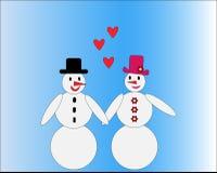 Pares de amor del muñeco de nieve con los corazones stock de ilustración