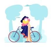 Pares de amor novos que sentam-se na bicicleta e que beijam o ar livre Relações humanas românticas, Love Story, família do recém- ilustração do vetor