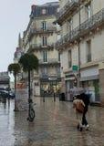 Pares de amor sob um guarda-chuva em um dia chuvoso em Nantes, França fotos de stock royalty free
