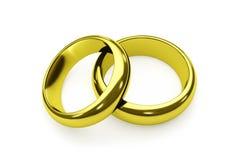 Pares de anéis de ouro isolados no branco foto de stock