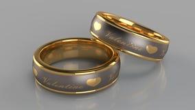 Pares de anéis dourados Imagens de Stock