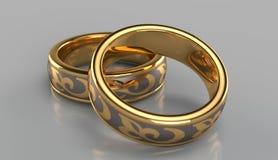 Pares de anéis dourados Foto de Stock Royalty Free