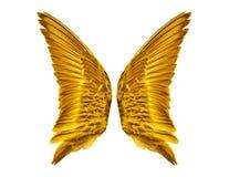 Pares de asas douradas do pássaro foto de stock