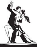 Pares de bailarines en danza de salón de baile ilustración del vector