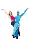 Pares de bailarines que bailan la danza moderna aislada Imagen de archivo libre de regalías