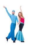 Pares de bailarines que bailan la danza moderna aislada Fotos de archivo