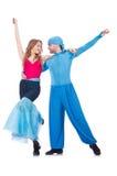 Pares de bailarines que bailan modernos Foto de archivo libre de regalías