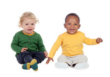 Pares de bebês que sentam-se no assoalho Fotografia de Stock