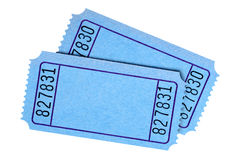 Pares de boletos azules en blanco de la película o de la rifa Fotos de archivo libres de regalías
