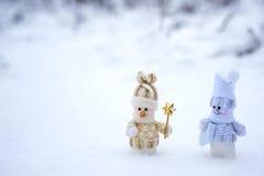 Pares de bonecos de neve Fotos de Stock Royalty Free