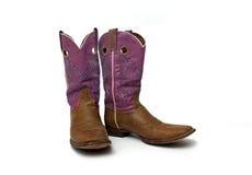 Pares de botas de vaqueiro das mulheres gastas Fotos de Stock Royalty Free