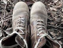Pares de botas exteriores vestidas boas velhas Imagens de Stock