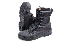Pares de botas militares de couro velhas Foto de Stock Royalty Free