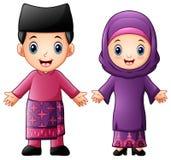 Pares de Brunei Darussalam dos desenhos animados que vestem trajes tradicionais ilustração stock