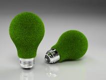 Pares de bulbos de la luz verde Fotografía de archivo