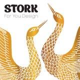 Pares de cegonhas Logotipo do romance Fotografia de Stock