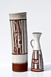 Pares de cerámica del vintage en estilo retro en blanco Imagenes de archivo