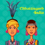 Pares de Chhattisgarhi no traje tradicional de Chhattisgarh, Índia Foto de Stock Royalty Free