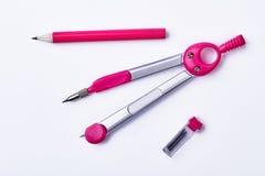 Pares de compassos e de lápis fotografia de stock