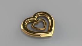 Pares de corações dourados Fotos de Stock Royalty Free