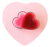 Pares de corações no papel cor-de-rosa imagem de stock royalty free
