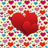 Pares de corazones rojos Fotografía de archivo libre de regalías