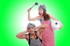 Pares de cozinheiros engraçados Imagens de Stock Royalty Free