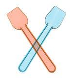 Pares de cucharas pastic para el helado Imagen de archivo