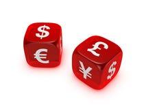Pares de dados rojos translúcidos con la muestra de dinero en circulación Stock de ilustración