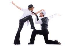 Pares de dançarinos que dançam a dança moderna isolada Fotos de Stock