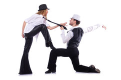Pares de dançarinos que dançam a dança moderna isolada Imagem de Stock Royalty Free