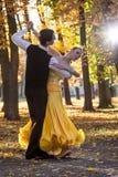 Pares de dançarinos que dançam nas madeiras foto de stock