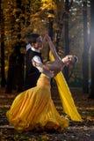 Pares de dançarinos que dançam nas madeiras fotos de stock