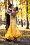 Pares de dançarinos que dançam nas madeiras Homem com terno, mulher no meio longo amarelo do vestido do parque do palácio no outo fotos de stock royalty free