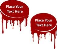 Pares de decorações de gotejamento vermelhas da pintura com lugar para seu texto Molde para seu projeto Líquido atual, manchas es ilustração stock