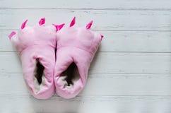 Pares de deslizadores cor-de-rosa do pé do monstro Imagens de Stock