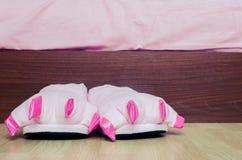 Pares de deslizadores cor-de-rosa do pé do monstro Foto de Stock