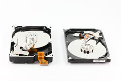 Pares de disco duro en el backgound blanco Fotos de archivo