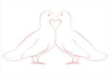 Pares de ejemplo de las palomas del amor, tarjeta de la tarjeta del día de San Valentín Foto de archivo