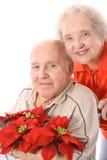 Pares de Eldery con las flores verticales fotos de archivo libres de regalías